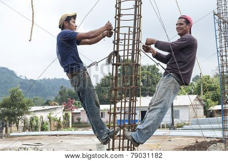 Construction Workers In Rural Mexico