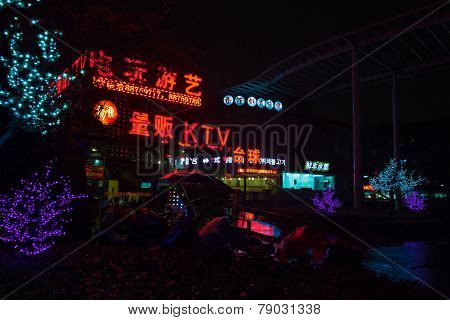 Colorful Chinese Neon Advertising. Night Street View