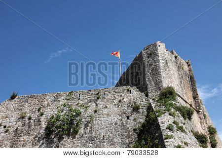 BUDVA, MONTENEGRO - JUNE 09, 2012: Old Budva city walls, Montenegro, on June 09, 2012
