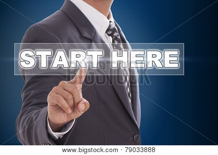 Businessman hand touching on screen
