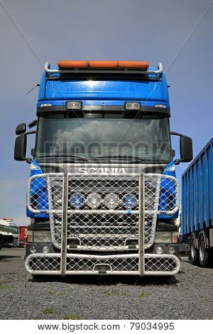Blue Scania R500 Truck With A Large Grille Guard