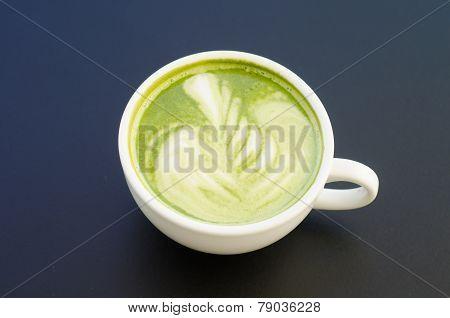 Beautiful Green Tea On Black Background