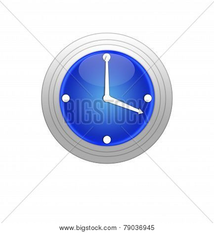 Blue Clock Isolated On White