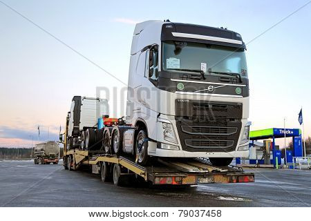 New Volvo FH Trucks Transported On A Semi Trailer