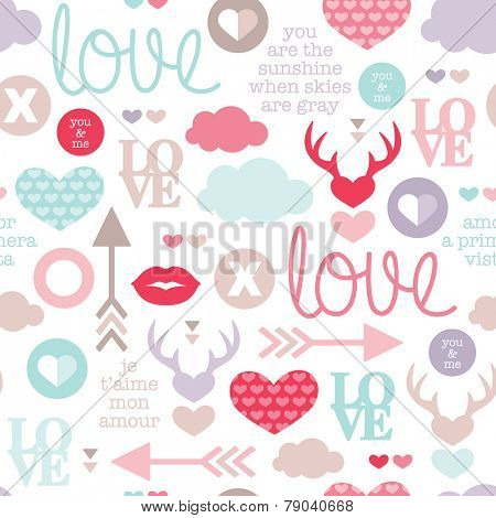 Seamless love romantic valentine hearts and sweet kiss illustration background pattern with lovers text in vector