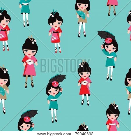 Seamless geisha girls japan kimono traditional kids illustration background pattern in vector