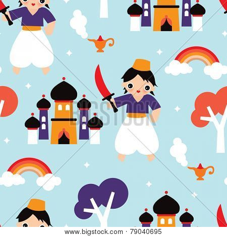 Seamless arab prince and castle illustration cute kids fantasy fairy tale background pattern in vector