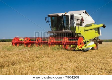 Modern combine in the field during harvesting