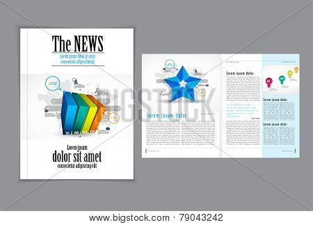 Graphical design magazine template. Eps 10 vector