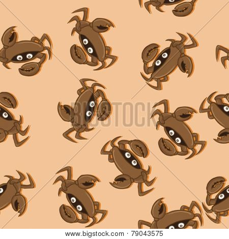 cartoon illustration of a crab seamless pattern