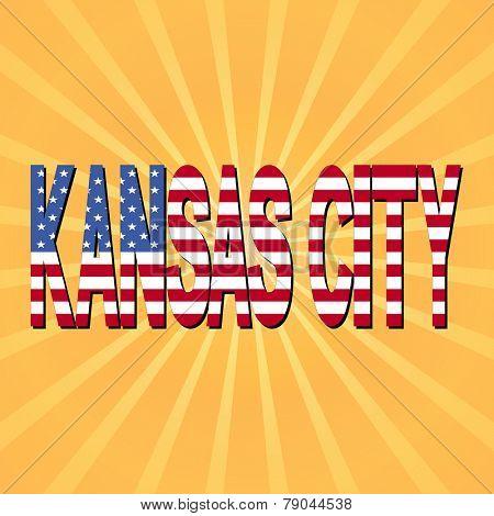 Kansas City flag text with sunburst illustration