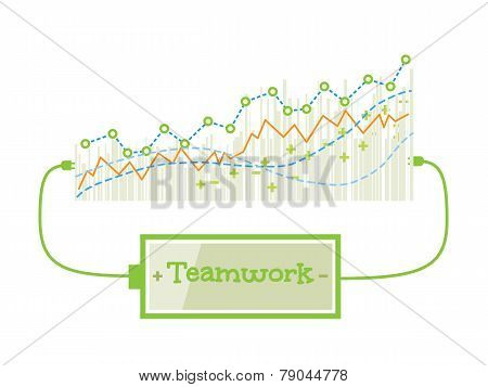 Teamwork Word Charging Battery Power With Grow Up Graph Background