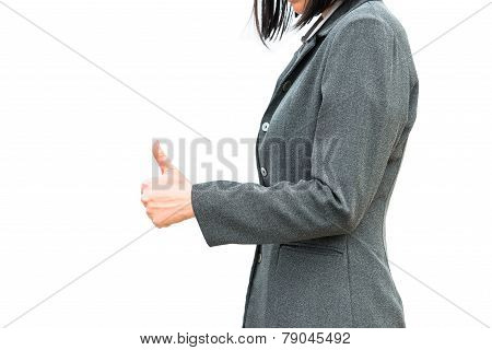 Businessman standing posture show hand with the thumb up
