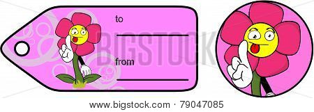 flower cartoon giftcard sticker