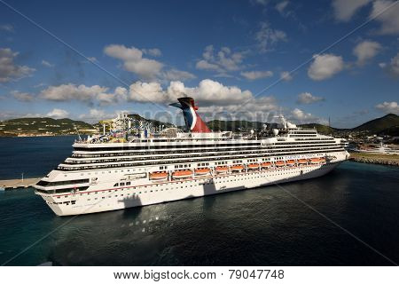 Carnnival Sunshne Arrives In St Maarten, The Caribbean