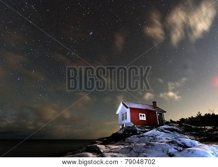 Starry Sky And Cottage