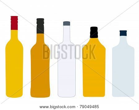 Different Kinds Of Spirits Bottles Without Labels