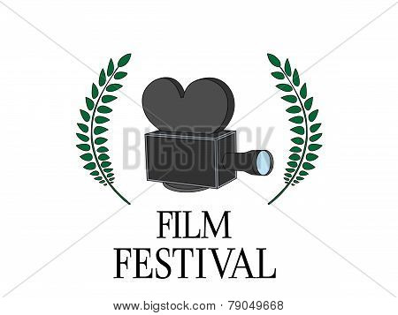 Film Festival Poster with Camera on White Background