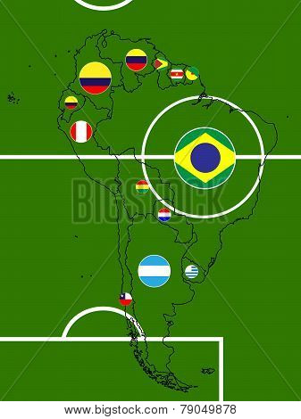 South America Soccer Map Circles