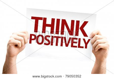 Think Positively card isolated on white background