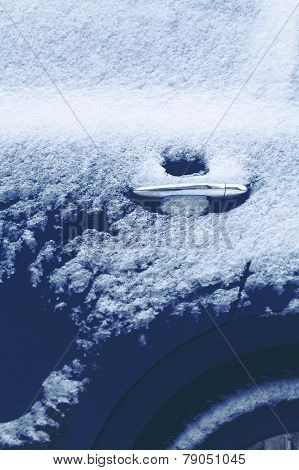 Winter Freezing Car, Frozen Closeup Handle Door Vehicle In The Snow