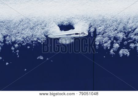 Winter Freezing Car, Frozen Door Vehicle In The Ice