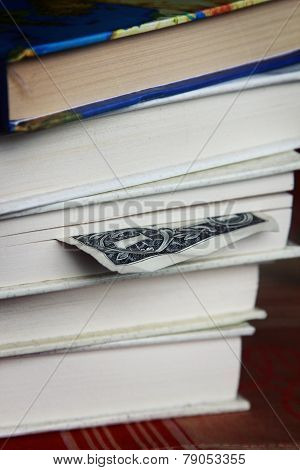 Book with one dollar bookmark
