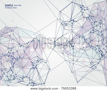 Abstract background on network and technology and global connections with polygonal shapes and lines