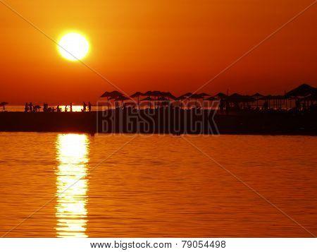 Ada Bojana Montenegro sunset on the beach