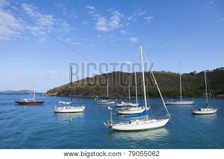 sailboats moored in Cruz Bay, US Virgin Islands