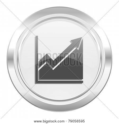 histogram metallic icon stock sign