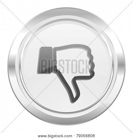 dislike metallic icon thumb down sign