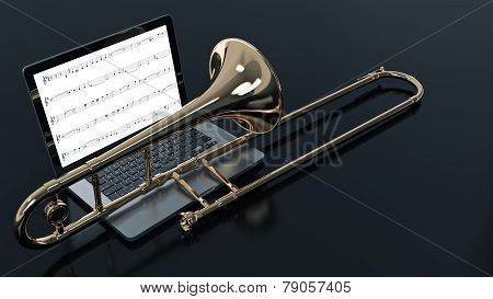 computer with trombone