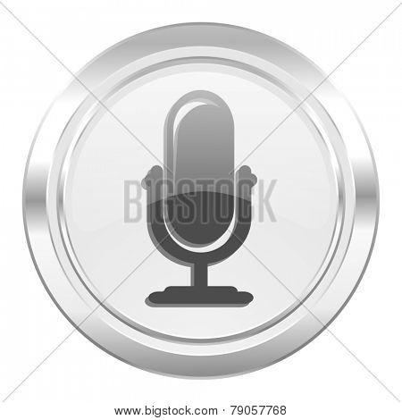 microphone metallic icon podcast sign