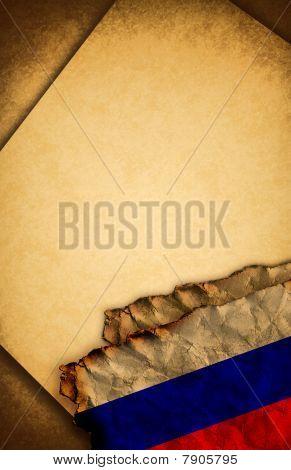 russische Flagge und altes Papier