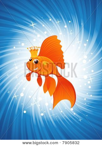 Goldfish en brillo azul.