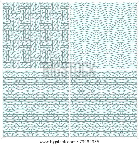 Set of four strange zigzag line patterns