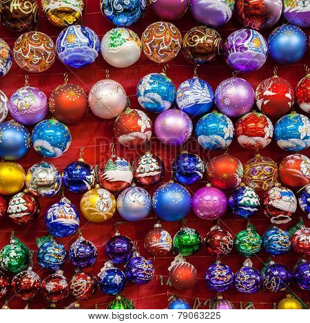 Moscow, Russia - December 24, 2014: Christmas Painted Glass Balls At Traditional Christmas Market In