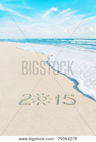 Year Number On Sea Beach - Vacation Season 2015 Concept