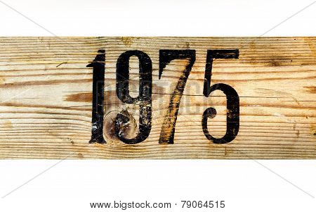 1975 Old Wooden Box On A White Background