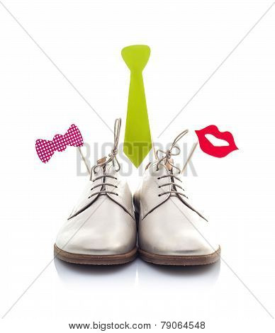 Funny Shoes Isolated On White Background