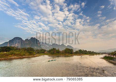 Nam Song river in Vang Vieng Laos