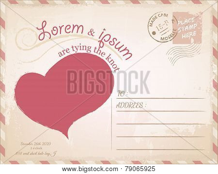 Vintage Postcard Vector Wedding Invitation