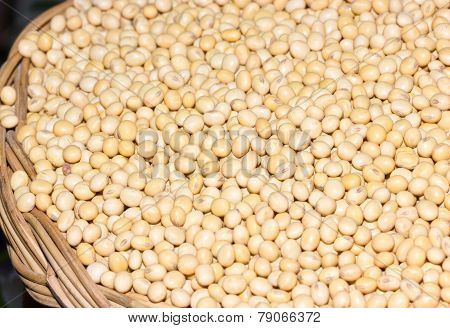 Soybeans In Rattan Basket.