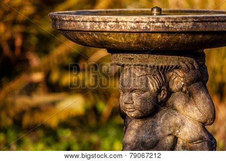 Small garden fountain close up