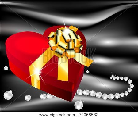 Red Heart With Golden Bow On A Background Of Black Silk With Pearls Decorating