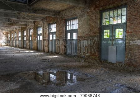 Abandoned Hall With Doors