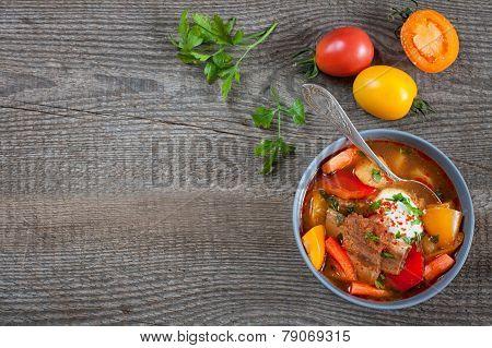 Traditional Hungarian Dish Bograch Goulash, Top View