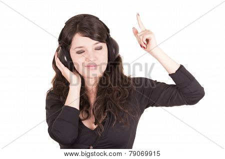beautiful young trendy girl using headphones