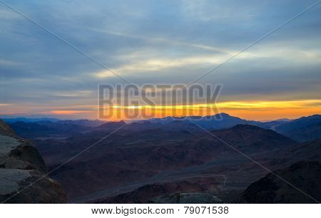 Egypt, Sunrise In Sinai Mountains